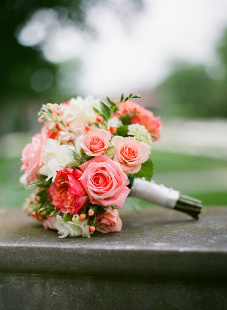 Perfect Coral and Ivory Bouquet